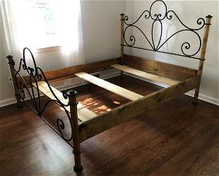 Arts & Crafts Style Pine & Wrought Iron Queen Bed