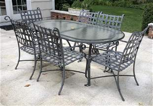 Cast Aluminum Outdoor Dining Table & 6 Chairs