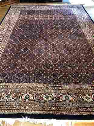 Hand Knotted Wool Bokhara Style Navy Carpet