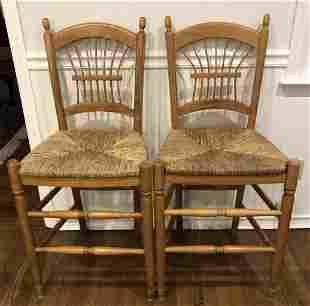 Pair Lillian August Wheat Back Rush Seat Stools