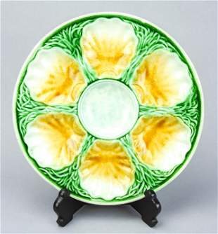 Antique 19th C Majolica Pottery Oyster Plate