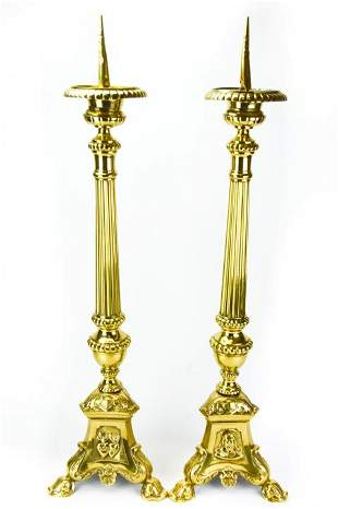 Antique 19th C Church Altar Ormolu Candlesticks
