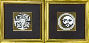 Pair of Piero Fornasetti Design Framed Gilt Prints