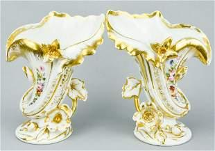 Pair of Antique 19th C Old Paris Porcelain Vases