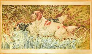 Antique Early 20th C Spaniel Dog Watercolor