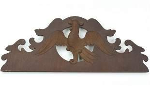Antique C 1800 Carved Wooden Plaque w Eagle