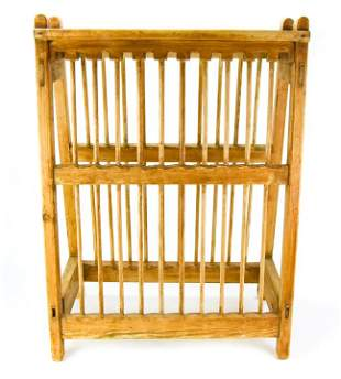 Antique 19th C Pine Wood Plate Rack Display Stand