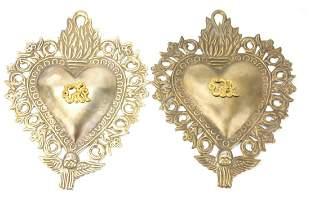 Pair Sacred Heart Ex Voto Church Memorial Plaques