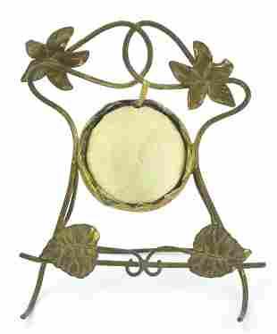 Antique 19th C Ormolu & Silk Pocket Watch Holder