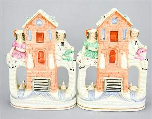 Pair Antique 19th C Staffordshire Windmill Statues