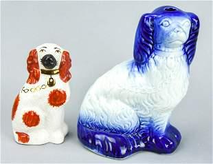 Two English Staffordshire Spaniel Dog Statues