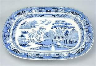 Large Antique Blue Willow Pattern Serving Platter