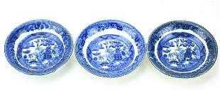 Three Blue Willow Pattern Butter Pat Dishes