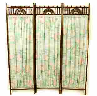 Victorian Fretwork Carved 3 Panel Screen w Curtain