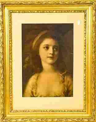 Framed Antique Portrait of Girl Pastel Print