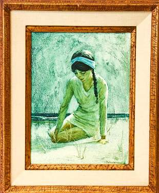 Palmieri Signed Young Woman Oil on Board