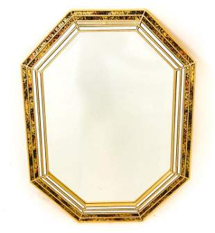 Contemporary Octagon Form Beaded Gilt Trim Mirror