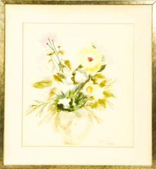 Framed Paul Kafka Flower Composition Watercolor