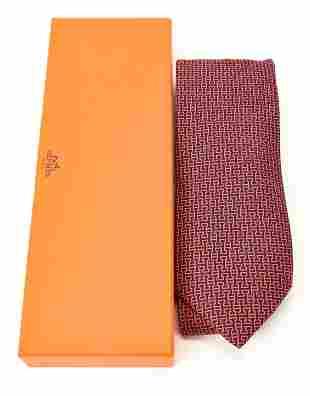 Hermes Paris H Pattern Silk Tie in Original Box