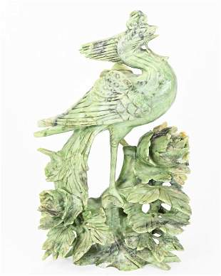 Chinese Carved Soapstone Phoenix Sculpture