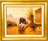 Louis Dancourt French Boulevard Oil Painting