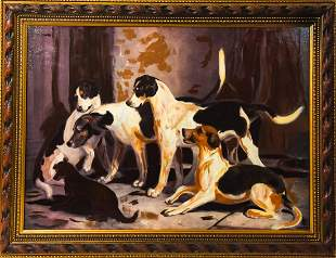 """Framed """"The Puckerridge Foxhounds"""" Oil Painting"""