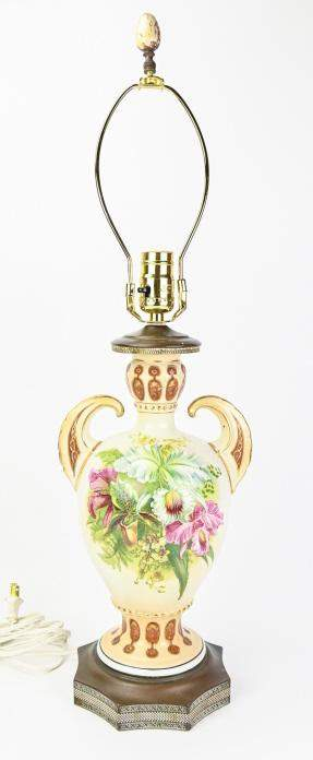 Antique French Floral Transferware Table Lamp