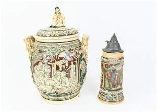Antique German Lidded Stoneware Jar & Beer Stein