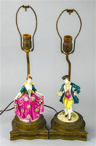 Pair French Porcelain Figural Table Lamps