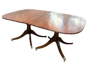 Regency Mahogany Pedestal Dining Table On Casters