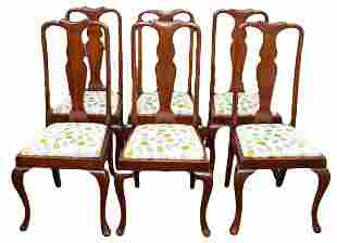 6 Antique Mahogany Queen Anne Dining Room Chairs