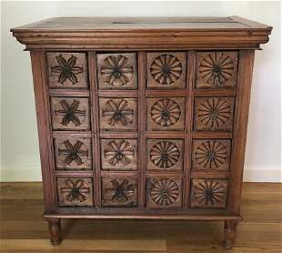 Indonesian Carved Apothecary Cabinet w Drawers