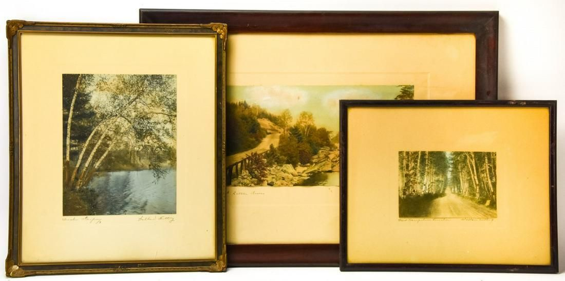 3 Wallace Nutting Hand Colored Photo Lithographs