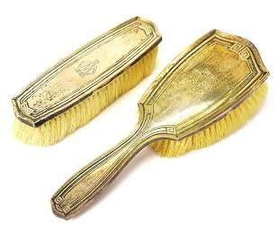 Two Art Deco Sterling Vanity Hair Brushes