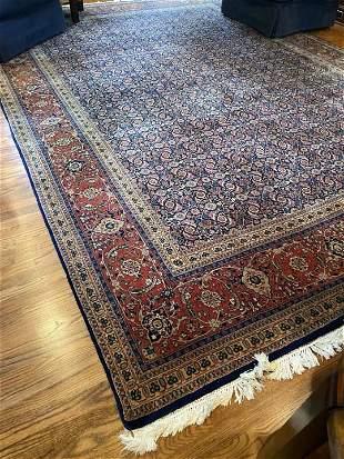 Royal Blue & Maroon Kirman Style Persian Rug