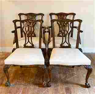 Set 4 Chippendale Upholstered Dining Chairs