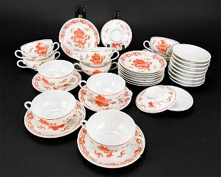 Set 12 Chinese Porcelain Bouillon Cups & Saucers