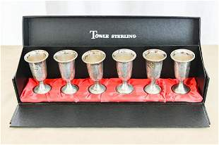 Set 6 Towle Sterling Silver Cordials in Box