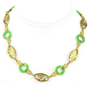Antique Chinese Art Deco Bi Disc & Ormolu Necklace