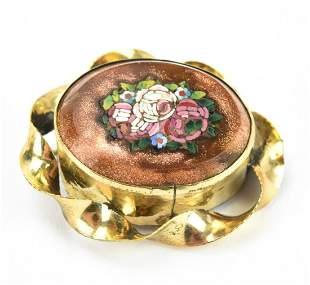 Antique 19th C Goldstone Micro Mosaic Brooch