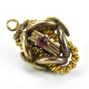 Antique 19th C Watch Fob Pendant / Charm w Garnet