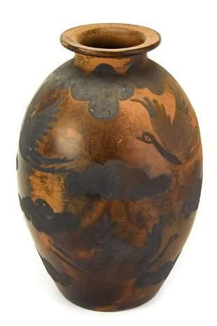 Marcelo Prado Peruvian Art Pottery Vase Bird Motif