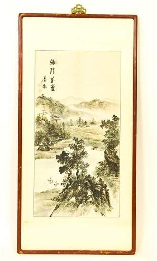 Stamped Chinese Watercolor Ink Mountain Landscape