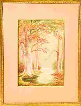 Framed Aubrey Ramus Watercolor Painting of Forest