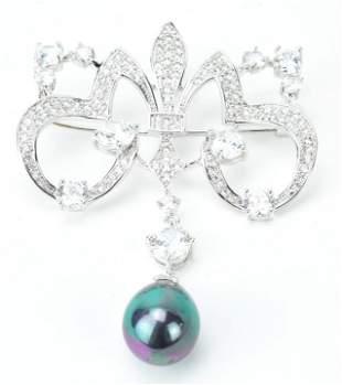 Edwardian Style Prong Set Paste & Pearl Pendant