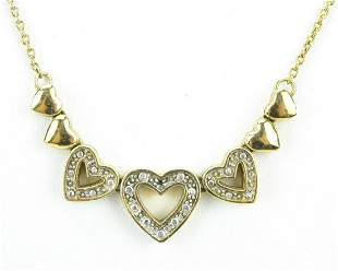 Gold Plated Sterling w Diamond Accent Necklace