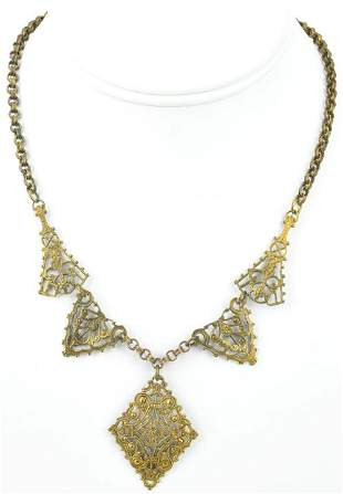 Antique Cezch Style Necklace w Rolo Link Chain