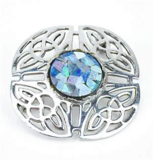 Vintage Celtic Knot Motif & Opal Mosaic Brooch