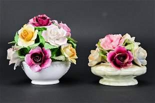 Antique English Porcelain Flower Bouquets