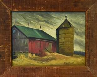Signed Mid Century Farm / Barn Oil Painting